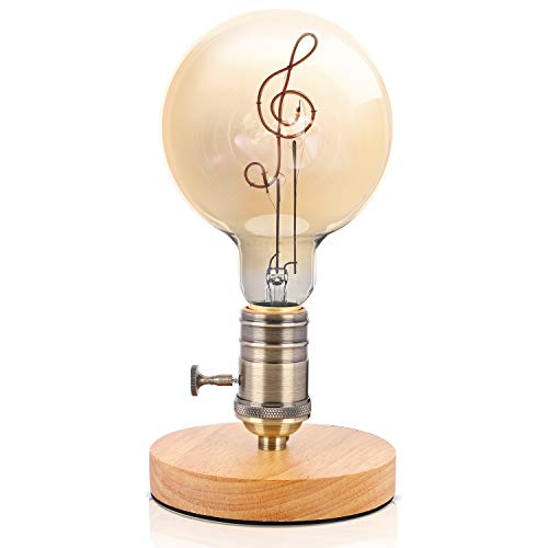 Christmas Sales Edison Bulb Bedside Industrial Table Lamp Industrial Desk Lamp Retro Desk Lamp Accent Lamps Rustic Lamps [with Warm Patterns kindling in The Night - Home/Treble Clef]