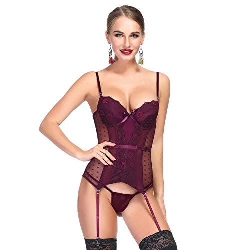 Queenral CorsetMinceuretAmincissant GuepierePorteJarretelle Steampunk Sexy Lingerie Bustiers (Bourgogne, XL Convient à la Taille 30-32'Buste 38-40')
