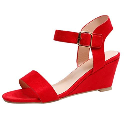 Femmes Boucle Sandales compensées Fausse suède Bride à la Cheville antidérapante Dames Romaines Peep Toe Sandale Chaussures