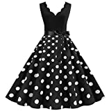 Women Retro Dress Dot Swing Pin Up Party Dresses Elegant Tunic Casual Sleeveless A Line Dress,JY1472...