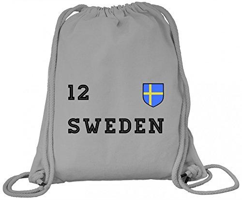 Sverige Sweden Fußball WM Fanfest Gruppen Premium Bio Baumwoll Turnbeutel Rucksack Stanley Stella Trikot Schweden, Größe: onesize,Heather Grey