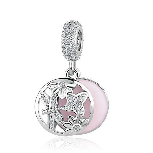 MiniJewelry Women Girls Dragonfly Flower Dangel Charm for Bracelets fits Pandora Charms Bracelets Crystal Clear CZ Pink Enamel