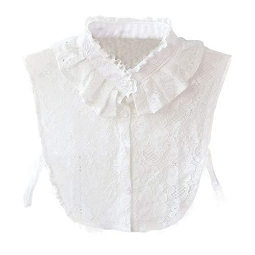 LHongBin-Falso Cuello de imitación Cuello Elegante Blanco de Las Mujeres, Collar de Soporte de Encaje de Las Mujeres, Collar de Camisa Falsa del Vintage Moda y fácil de Combinar (Color : White)