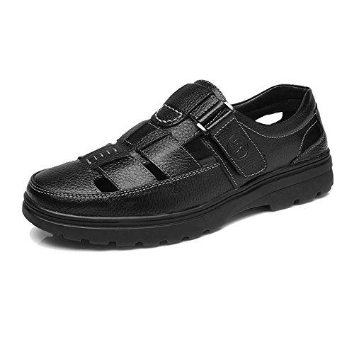 Zoo-yil Lqp-nsxjx Zapatos de los Hombres clásicos de Corte Transpirable Perforación Genuina Piel de Vacuno de anfetamina Slip-en Suavemente único Mocasín (Color : Black, Size : 41 EU)