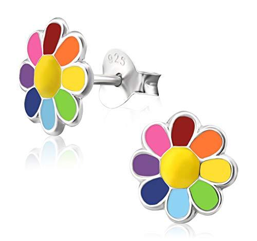 Laimons Kids Orecchini a pressione per bambini gioielli per bambini Fiore colorato Argento Sterling 925