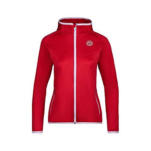 BIDI BADU Damen Trainingsjacke Mit Seitlichen Reißverschlußtaschen Überziehjacke mit Reißverschluß Atmungsaktive Sport Jacke Rot - Inga Tech Jacket - red/White, GRÖßE:XL