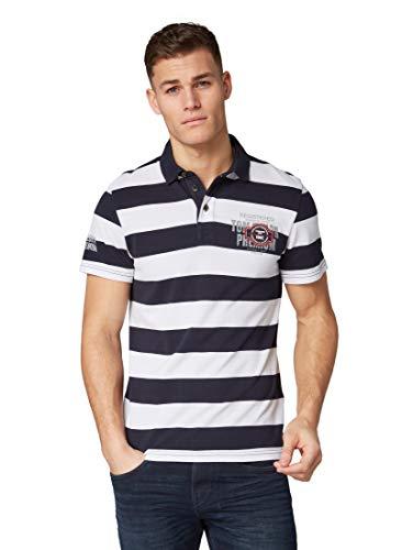 TOM TAILOR Herren 1011733 Poloshirt, Blau (Navy White Stripe 18216), Large (Herstellergröße: L)