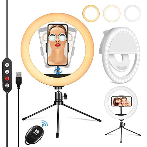 """PEHESHE Luz de Anillo LED 10"""" fotográfica de Escritorio, 3 Colores 10 Brillos Regulables Control Remoto, Trípode con Soporte Giratorio de teléfono para Selfie, Maquillaje, Youtube, TIK Tok"""