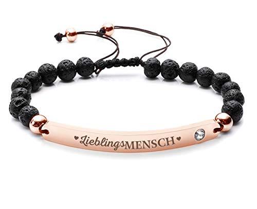 Silvity Damen Freundschafts-Armband Edenlstahl Gravur Lieblingsmensch veredelt mit einem Swarovski¨ Kristall 16,5 cm bis 20,5 cm (Rose-Schwarz)