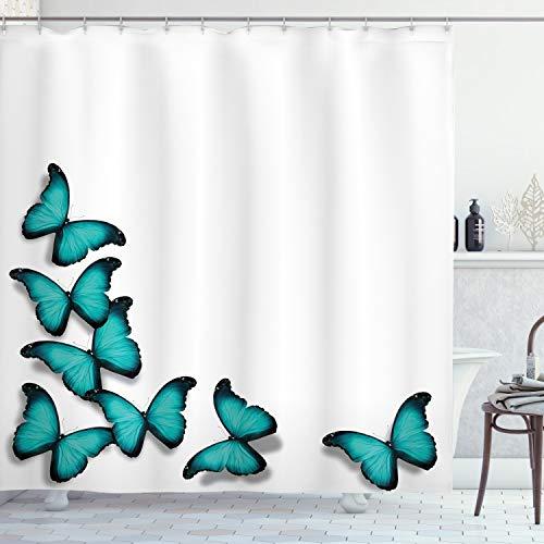 ABAKUHAUS Türkis Duschvorhang, Sunny Schmetterlinge Morphs, Hochwertig mit 12 Haken Set Leicht zu pflegen Farbfest Wasser Bakterie Resistent, 175 x 200 cm, Schwarz türkis