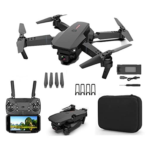 SWETIY Drone Mini, Quadricottero Wifi Un Pulsante Decollo E Atterraggio,G-Sensore,Capovolgimento 3D, Modalità Seguimi, Telecamera HD 4K FPV Pieghevole Drone Per Bambini E Principianti, 1 Batteria,Nero