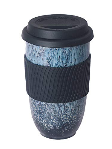 UNIVERSAL TRAVELLER Ceramic Coffee Travel Mug with Silicon Lid and Sleeve -16oz (470ml), Large. Eco-friendly. Portable, Reusable to-go Coffee Cup, Convenient and Uniquely Styled with Teal Kiln Glaze