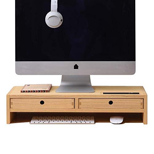 Kirigen Wood Monitor Stand with 2 Drawers Computer Arm Riser Desk Storage Organizer, TV Laptop Printer Stand,2-Tier Desktop Shelf Natural Natural