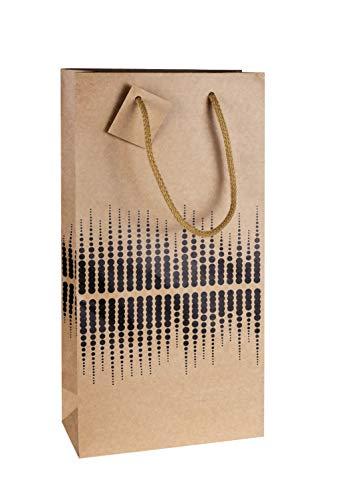 LUDI-VIN Sacchetti di carta di lusso con manici in corda, per 2 bottiglie di vino, decorazione SOUND, Confezione da 10 sacchetti, Marrone