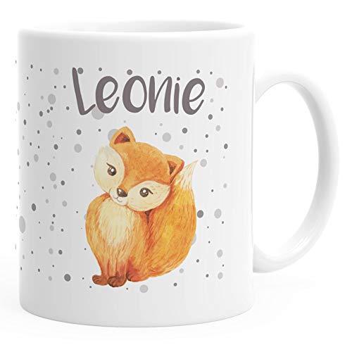 SpecialMe® Kindertasse Kunststoff Fuchs Füchsin personalisierte Namenstasse für Kinder Mädchen weiß Kunstoff-Tasse