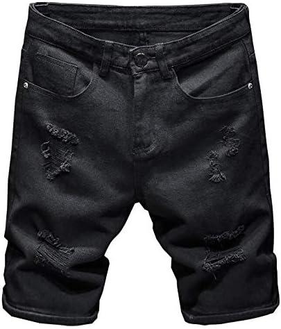 Alilyol 2021 New Men Ripped Hole Denim Shorts Slim Casual Knee Length Short Straight Hole Jeans Shorts Bermuda for Men