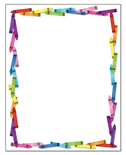 Colorful Crayon Border Stationery - 8.5 x 11-60 Letterhead Sheets for Kids - Border Letterhead (Crayons)