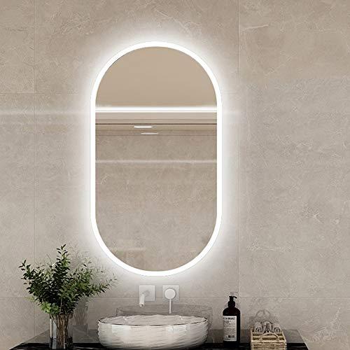 Espejo de Pared para baño de 400x600 / 400x700 / 700x500mm con Luces LED, IP44, Espejo de Maquillaje LED Ovalado/Espejo de Afeitar, Espejo de luz LED para Hotel/Dormitorio/Baño/Salón