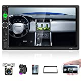 Camecho Car Stereo 2 Din Car Radio 7' MP5 Player with HD Touch Screen Digital Display Bluetooth Multimedia Support USB SD FM Aux-in Double Din Autoradio Mobile Phone Mirror Link with Backup Camera