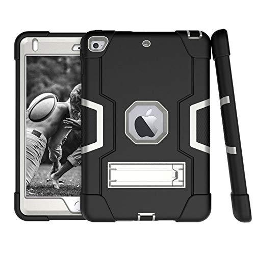 Estuche de la Armadura de Soporte Flexible Duro de Silicone TPU + PC de Servicio Pesado para iPad Mini 5 4 Drop Shock Prueba-Gris Negro