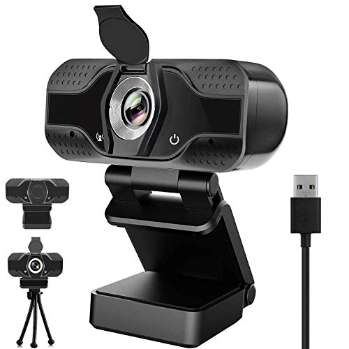 1080P HD Webcam with Microphone, Privacy Cover, Desktop Laptop Computer Web Camera with Auto Light Correction, Plug and Play, for Windows Mac OS, for Video Streaming, Conference, Gaming, Online Class