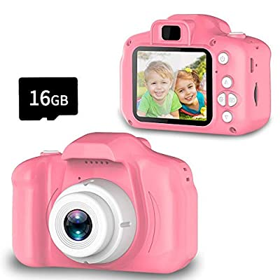 Seckton Classic Kids Camera, Best Birthday Gifts for Girls Age 3-9, HD Digital Video Cameras for Toddler, Portable Toy for 3 4 5 6 7 8 Year Old Boy with 16GB SD Card-Pink