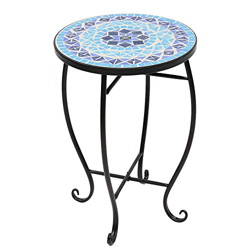 Outdoor Accent Table Mosaic Accent Table Round Side Table Removable Plant Stand Decor for Patio Porch, Beach Theme Balcony Deck Pool Indoor Outdoor Coffee End Table (C-Blue Flower)