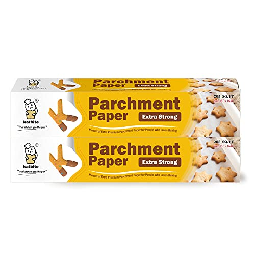 Katbite Heavy Duty Parchment Paper Roll 15 in x 164 ft (205 SQ FT) Baking Pan Liners (2 Pack)