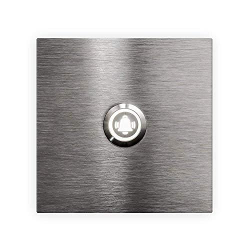 Moderne roestvrijstalen LED-deurbel grof geslepen V2A vierkant 90x90x3mm wit LED verlicht symbool bel bel plaat