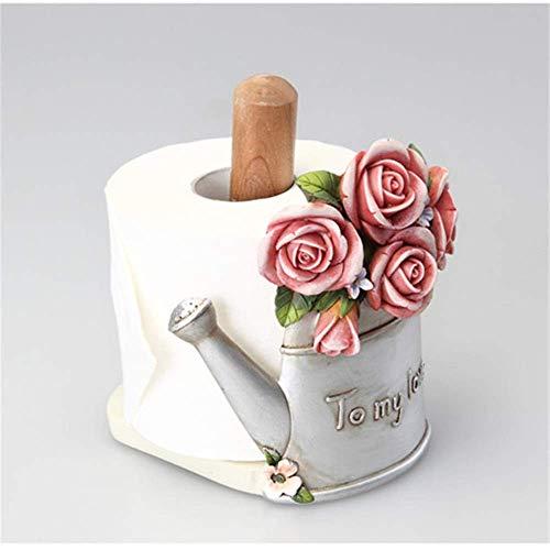 2021 El último soporte para toallas de papel de pie con diseño de rosas y flores de papel vintage, rústico y rural vertical, para cocina, bar, comedor, hotel, dispensador de rollos (color, B),