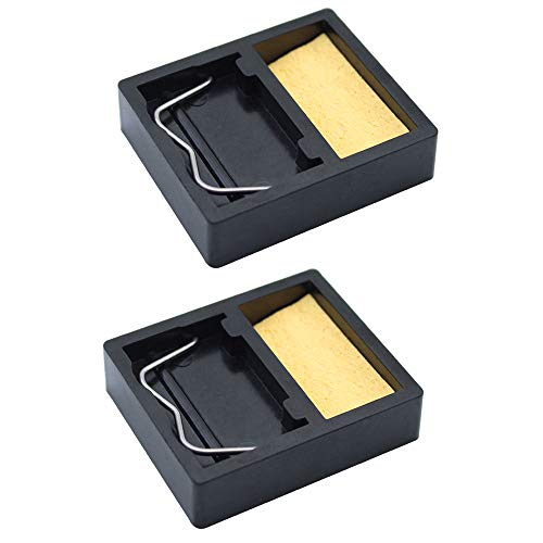 JaneYi (2 Stück) Mini Tragbarer Lötkolben Ständer Halter Rechteckiger Kleiner Schweißbrenner Ständer mit Lötschwamm zur Reinigung und Unterstützung der Lötspitze