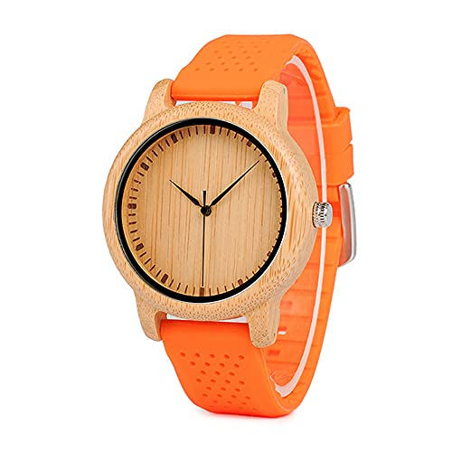 KUELXV Reloj de Pulsera de Madera Relojes para Mujer Relojes de Lujo de Madera de bambú para Mujer Correas de Silicona Grandes Regalos para niñas, B05YELLOW