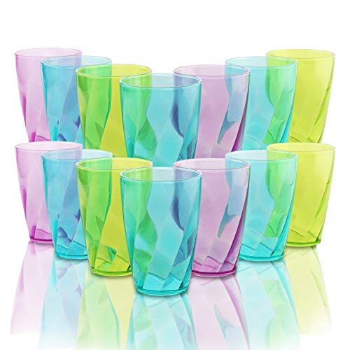 BELLE VOUS Vasos de Plástico Coloreado (Set de 18) - 450 ml...