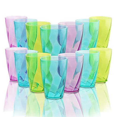 BELLE VOUS Vasos de Plástico Coloreado (Set de 18) - 450 ml...
