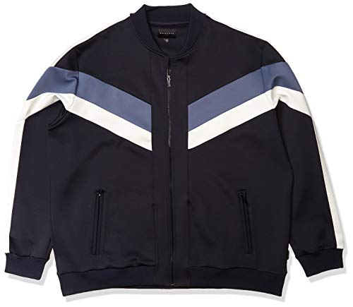 Sean John Men's Zip Up Colorblocked Neoprene Track Jacket, Night Sky, 6X-Large - Big