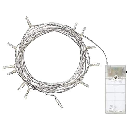 IKEA 304.210.23 Ledfyr LED-Lichterkette mit 12 Lichtern, für Gebrauch im Innenbereich, batteriebetrieben, silberfarben