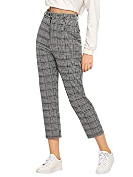 Milumia Women s Mid Waist Plaid Print Cropped Pants Vintage Tartan Trousers Grey Large