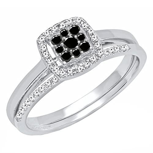 Dazzlingrock Collection Juego de anillos de compromiso de 0,30 quilates de diamante negro redondo para mujer de 1/3 quilates, oro blanco de 18 quilates, talla 7,5