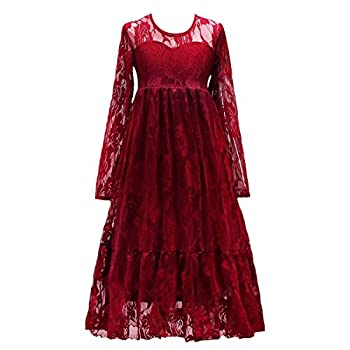 Little Big Girls Bridesmaid Wedding Pageant Party Princess Communion Floral Boho Rustic Lace Long Sleeves Flower Girls Dresses Burgundy 10-11 Years