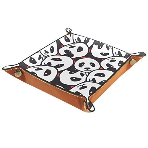 XiangHeFu Bandeja de Cuero Doodle de Cabeza de Panda Almacenamiento Bandeja Organizador Bandeja de Almacenamiento Multifunción de Piel para Relojes,Llaves,Teléfono,Monedas