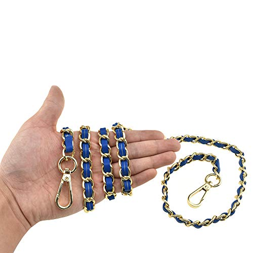 HAHIYO Metal Plus Synthetic Leather Purse Chain Strap Length 47.2 Inches Navy Blue Gold for Shoulder Cross Body Sling Purse Handbag Replacement Comfortable 0.47 Inches Wide 5mm Extra Thick 1 Pack