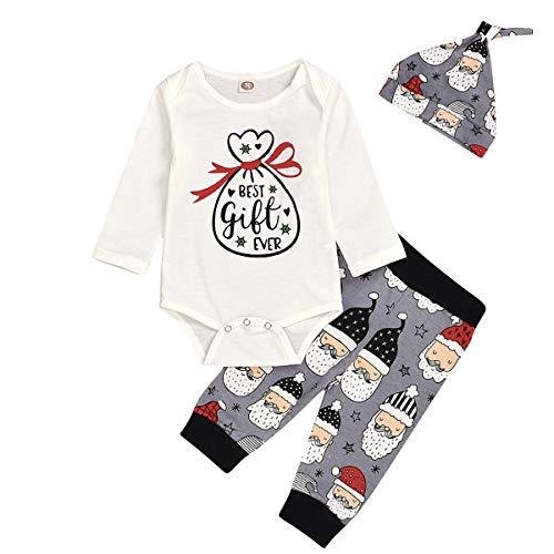 Newborn Toddler Baby Boys Long Sleeve Xmas Romper Tops Santa Pants Hat Christmas Outfits Set (Grey, 90(12-18 Months))
