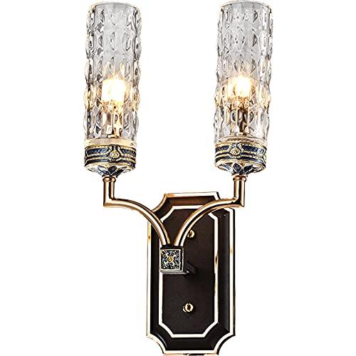 OMING Lámpara de Pared Luz posmoderna Luz de Cristal Simple lámpara de Pared Sala de Estar Dormitorio Retro lámpara de Noche lámpara de Cama casa iluminación Aplique de Pared al Aire Libre