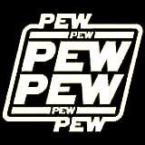 Star Wars PEW PEW PEW Funny Decal Vinyl Sticker|Cars Trucks Vans Walls Laptop| White |5.5 x 4.75 in|DUC046