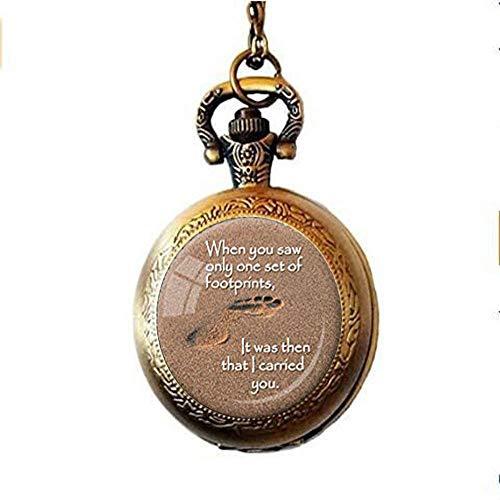 HE PING - Reloj de Bolsillo con diseño de Huellas de Poema en la Arena, joyería Cristiana, Regalo con Cita de Jesús para la recuperación inspiradora Cristiana, Color marrón y Blanco