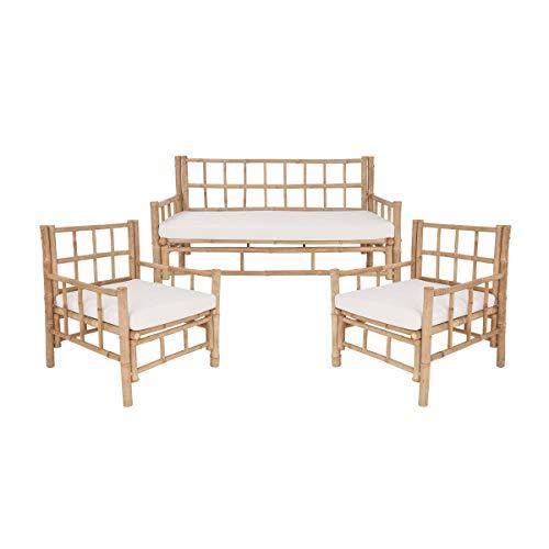 Butlers Lombok - Sofa und 2 Sesseln mit Sitzkissen - aus Bambus - Tropisches Flair - Outdoor und Indoor