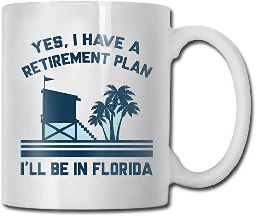 Becher Keramik Mode Tasse Kaffee Porzellan Tasse 11 Unzen Geschirr Geschenk Retirement Plan Florida