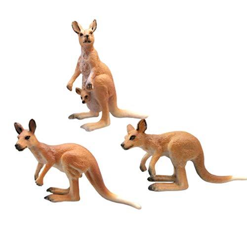 NUOBESTY 3 Stücke Känguru Figur Spielzeug Familie Tiere Modell Figur Spielzeug Tischdekoration Pädagogisches Spielzeug für Kinder Tischdekoration