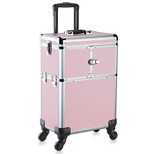 OUDMAY by Amazon - Makeup Case - Professional Rolling Cosmetic Beauty Storage With Mirror and Folding Trays Pink