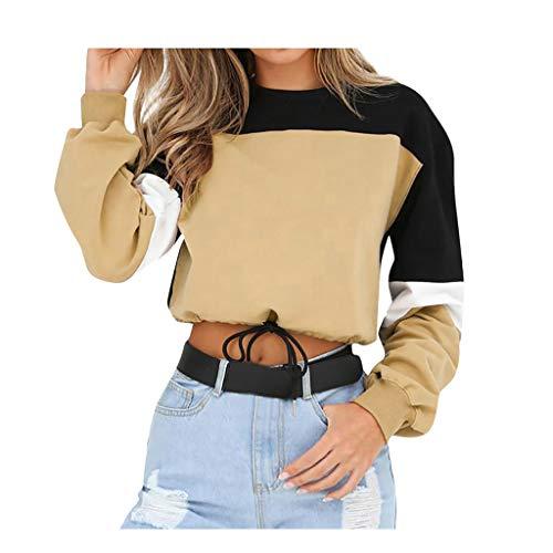 Kword Felpe Tumblr Ragazza,Camicia Maglietta Donna Casual Manica Lunga Camicetta Camicette T-Shirt Felpa Donna con Cappuccio (Khaki, S)
